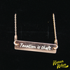 Taxation is theft Engraved Silver Bar Chain Necklace - Human Action llc