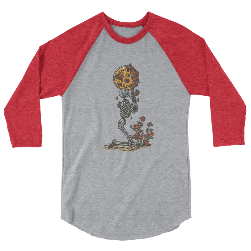 Bitcoin skeleton 3/4 sleeve raglan shirt