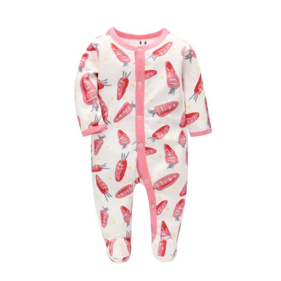 100% Cotton Crimson Pink Baby Carrot Print Footed Bodysuit - Dee Republic