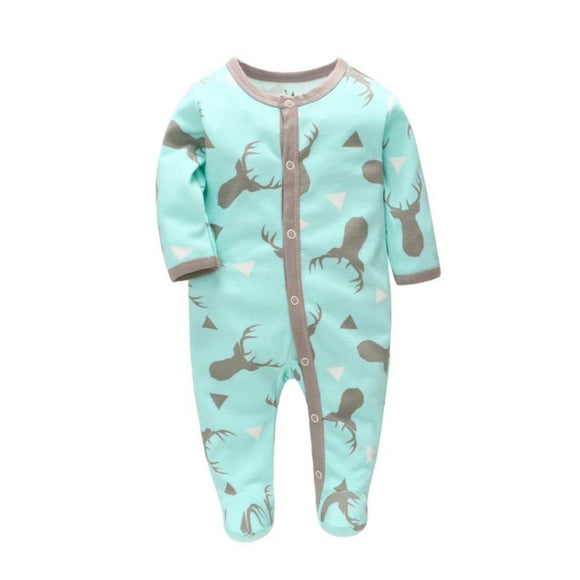100% Cotton Elk Print Turquoise & Grey Footed Bodysuit - Dee Republic