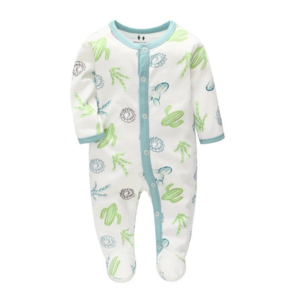 100% Cotton Green Cactus Print Footed Bodysuit - Dee Republic