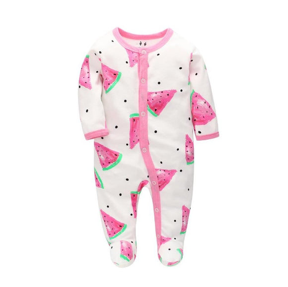 100% Cotton Pink Watermelon Print Footed Bodysuit - Dee Republic