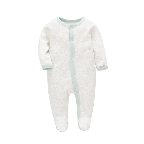 100% Cotton White with Soft Mint Speckles Footed Bodysuit - Dee Republic