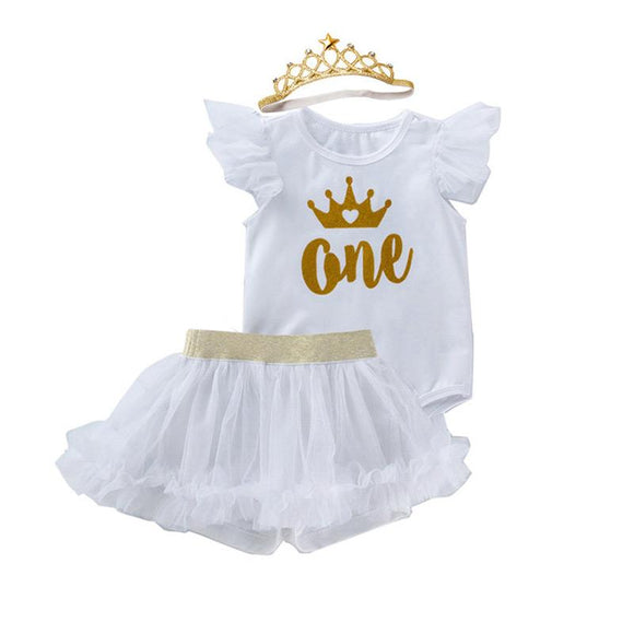 1st Birthday Gold Crown White Bodysuit & White Shorts Tutu Set - Cake Smash 3pc - Dee Republic