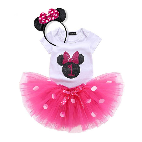 1st Birthday Minnie Mouse Bodysuit & Pink Tulle Tutu Set - 3pc - Dee Republic