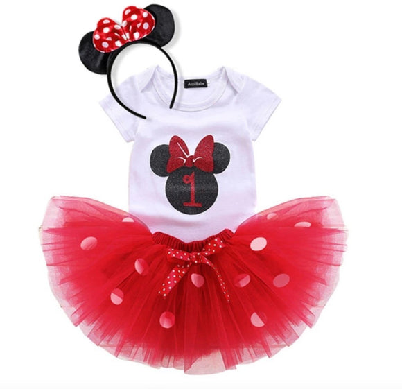 1st Birthday Minnie Mouse Bodysuit & Red Tulle Tutu Set - 3pc - Dee Republic