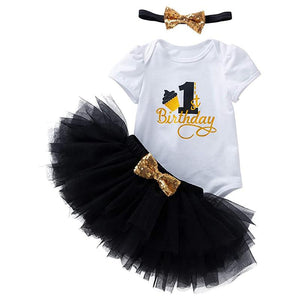 1st Birthday Print Bodysuit & Black Tulle Tutu Set - Cake Smash 3pc - Dee Republic