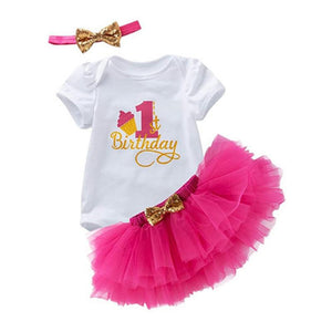 1st Birthday Print Bodysuit & Pink Tulle Tutu Set - Cake Smash 3pc - Dee Republic