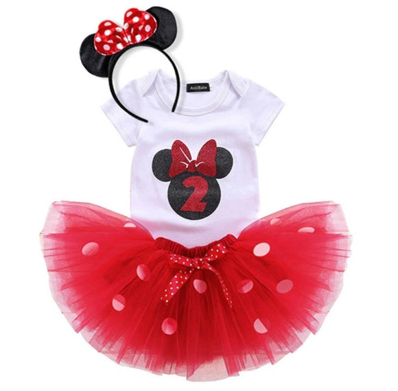 2nd Birthday Minnie Mouse Bodysuit & Red Tulle Tutu Set - 3pc - Dee Republic