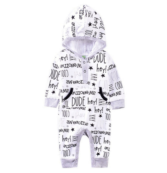 Black & White Cool Dude Hooded Jumpsuit