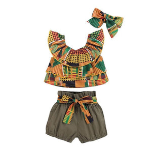 African Print Stylish Layered Top & Tie Belt Shorts with Headband -3pc - Dee Republic