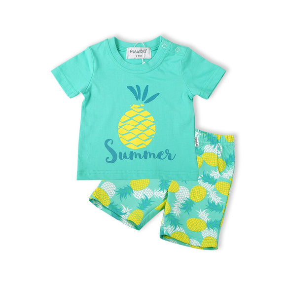 Aqua Mint Tropical Pineapple Design Boys Summer Set 2pc - Dee Republic