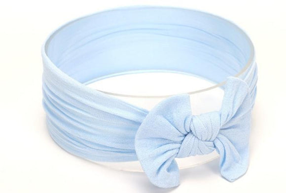 Baby Blue Broad Soft Elasticized Baby Headband with Bow - Dee Republic
