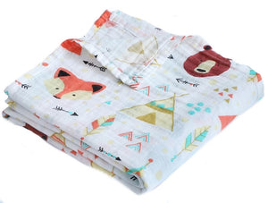 Bear & Fox in the Woods Soft 100% Organic Muslin Cotton Swaddle Blanket - Dee Republic