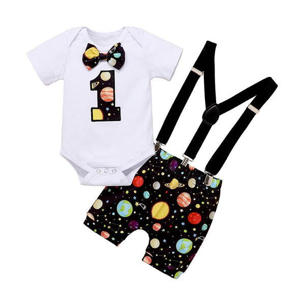 Black & Colourful Planets Mix First Birthday Outfit - Cake Smash 3pc - Dee Republic