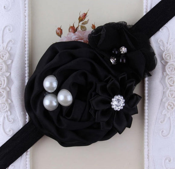 Black Handmade Flower Mix Soft Headband with Crystal & Pearls - Dee Republic