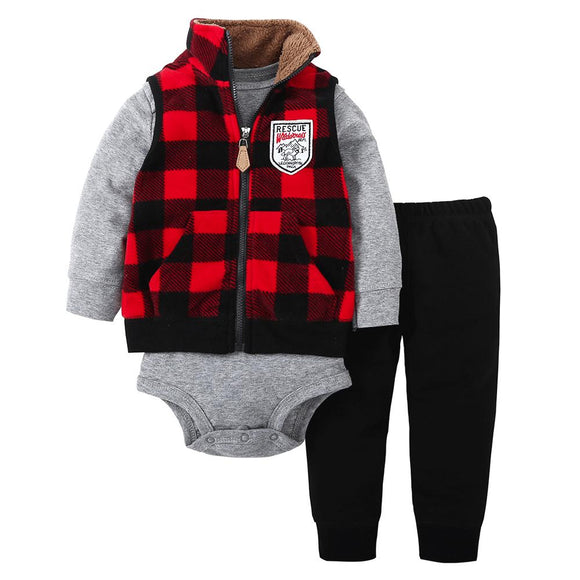 Black & Red Plaid Sleeveless Soft Fleece Zip Top with Bodysuit and Sweat Pants- 3 piece - Dee Republic