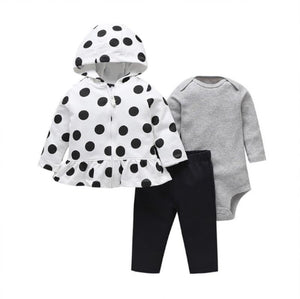 Black & White Polka Dot Hooded Winter Outfit - 3 Piece - Dee Republic