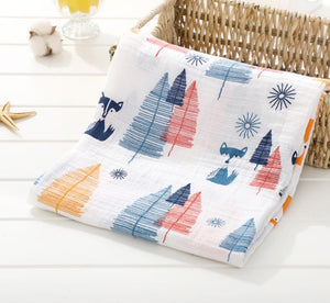 Blue & Red Trees with Fox Soft 100% Organic Muslin Cotton Swaddle Blanket - Dee Republic