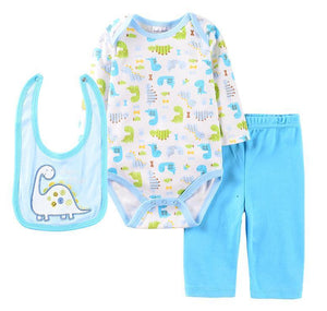 Blue & White Dino Outfit -3 Piece Set - Dee Republic