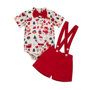 Boys Christmas Bodysuit Shirt & Adjustable Dungarees 2pc - Dee Republic