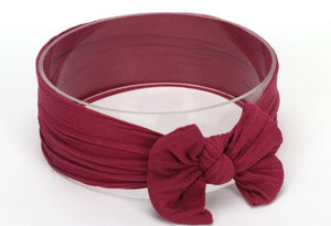 Burgundy Broad Soft Elasticized Baby Headband with Bow - Dee Republic