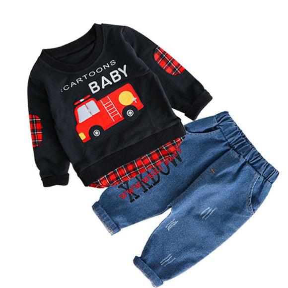 Cartoons Baby Fire Truck Sweatshirt & Jeans - Dee Republic