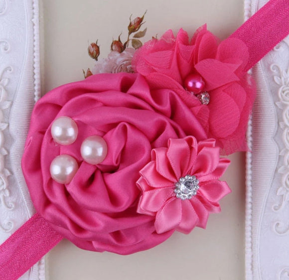 Cerise Pink Handmade Flower Mix Soft Headband with Crystal & Pearls - Dee Republic