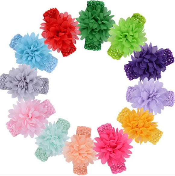 Chiffon Flower Soft Stretch Knit Baby Headband - Assorted Colours - Dee Republic
