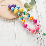 Chunky Bubblegum Colourful Necklace with Unicorn Charm - Dee Republic