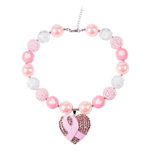 Chunky Pink Bubblegum Necklace with Heart Charm - Dee Republic
