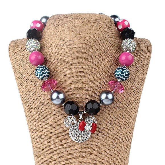 Chunky Pink/Black/Silver Bubblegum Necklace with Mouse Pendant - Dee Republic