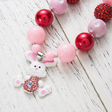 Chunky Pink/Red Bubblegum Necklace with Bunny Pendant - Dee Republic