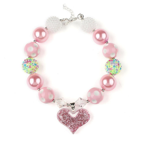 Chunky Pink/White Mix Bubblegum Necklace with Heart Charm - Dee Republic