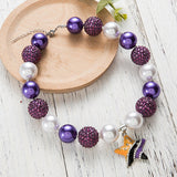 Chunky Purple/White Bubblegum Necklace with Star Pendant - Dee Republic