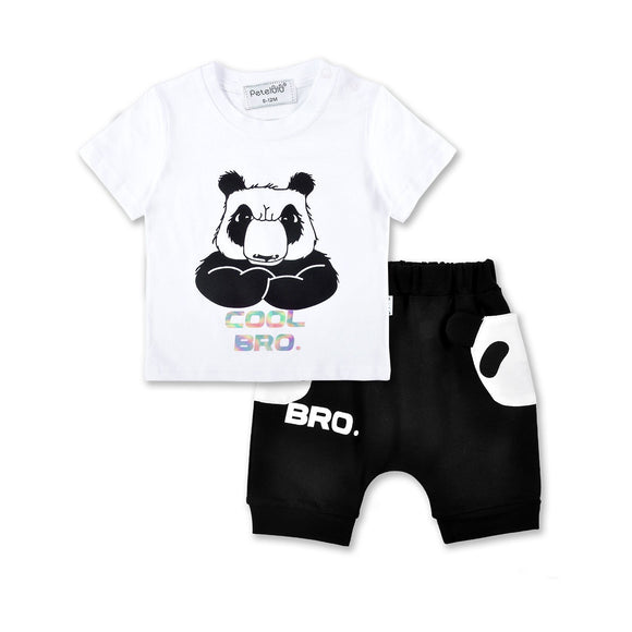 Cool Bro Bear T-Shirt & Black Shorts - Dee Republic