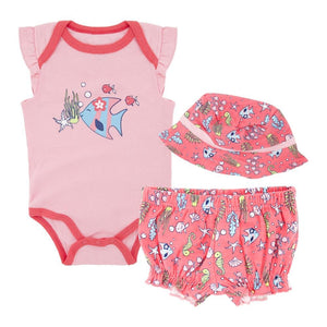 Coral Pink Sea Life Baby Girls Beach Summer Set 3 pc - Dee Republic