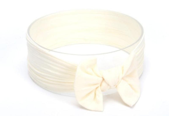 Cream Broad Soft Elasticized Baby Headband with Bow - Dee Republic