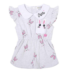 Cute Bunny Shorts Jumpsuit with Collar & Flutter Sleeve - Dee Republic