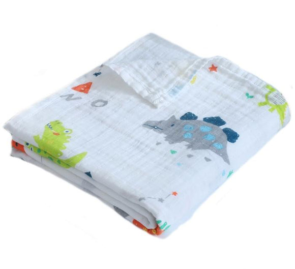 Cute Dinosaurs Soft 100% Organic Muslin Cotton Swaddle Blanket - Dee Republic