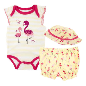 Cute Flamingo's Baby Girls Beach Summer Set 3 pc - Dee Republic