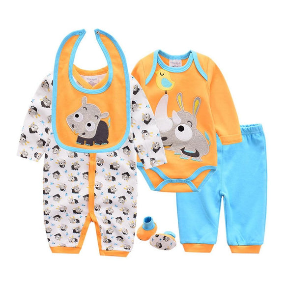 Cute Rhino Set Turquoise/Orange - 5 Piece Set - Dee Republic