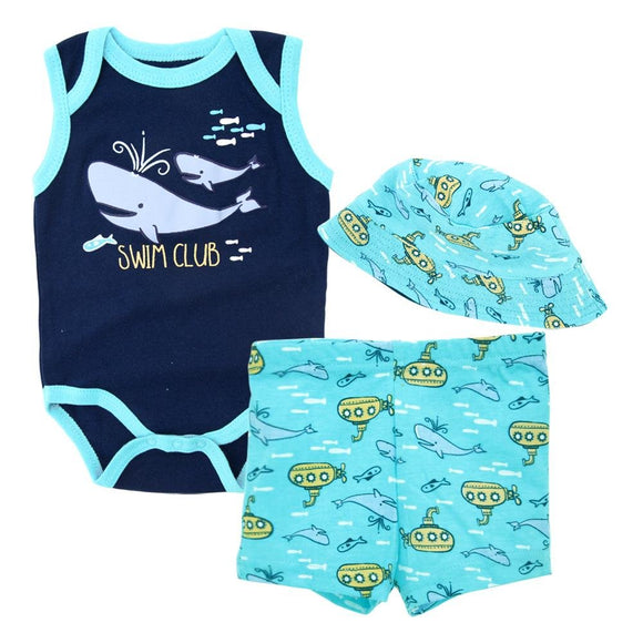 Cute Whale Swim Club Baby Boys Beach Summer Set 3 pc - Dee Republic