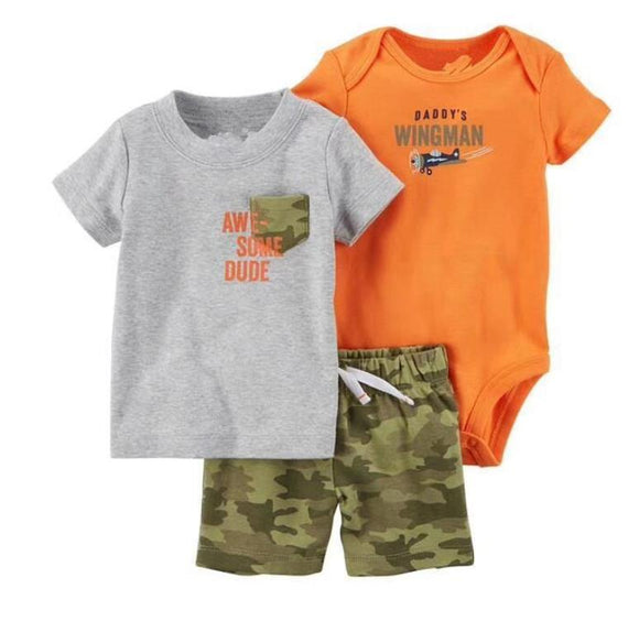 Daddy is My Wingman Orange/Camo 3 Piece Set - Dee Republic
