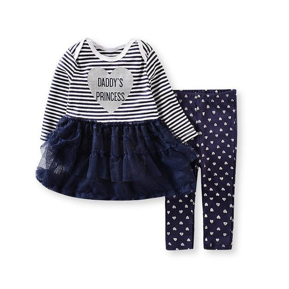 Daddy's Princess Navy Tutu Dress Top & Pants- 2 Piece - Dee Republic