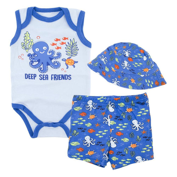 Deep Sea Friends Baby Boys Beach Summer Set 3 pc - Dee Republic