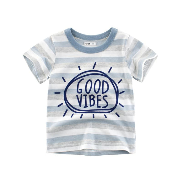 Good Vibes Stripe Cotton T-Shirt - Dee Republic