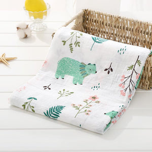 Green & Pink Forest Bear Soft 100% Organic Muslin Cotton Swaddle Blanket - Dee Republic