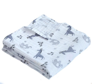 Grey Giraffe & Ellie Soft 100% Organic Muslin Cotton Swaddle Blanket - Dee Republic