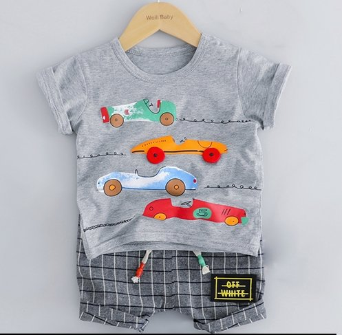 Grey T-Shirt with Cars & Plaid Shorts - Dee Republic